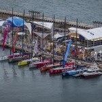 October 2, 2014. Aerial view of the fleet in the Volvo Ocean Race Village.