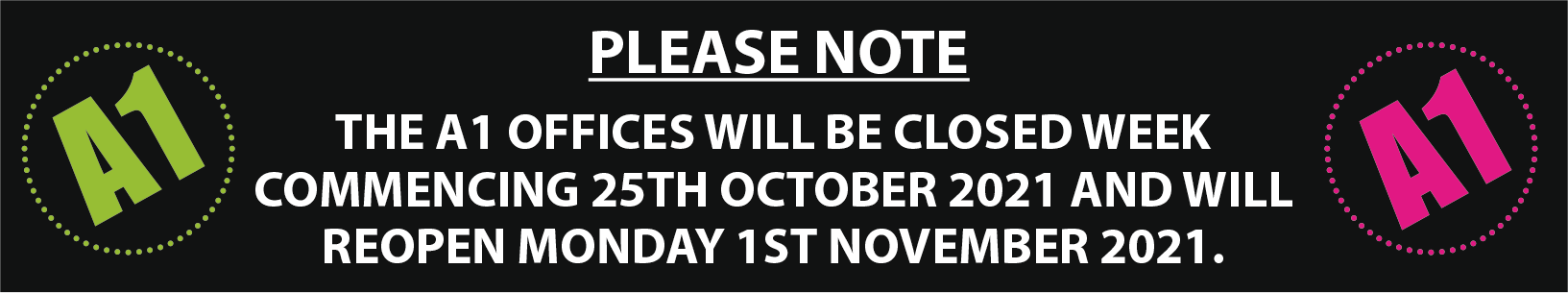 A1 Office Closed Oct 21